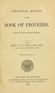 Cover of: Original notes on the Book of Proverbs | Malan, Solomon Caesar