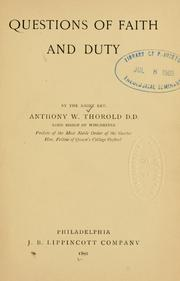 Cover of: Questions of faith and duty | Anthony Wilson Thorold