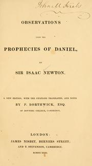 Cover of: Observations upon the prophecies of Daniel