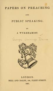 Cover of: Papers on preaching and public speaking | George J. Davies