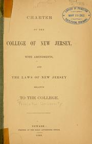 Cover of: Charter of the College of New Jersey | Princeton University.
