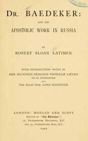 Cover of: Dr. Baedeker and his apostolic work in Russia