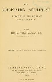 Cover of: The reformation settlement