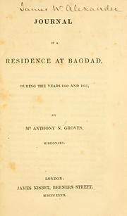Cover of: Journal of a residence at Bagdad by Anthony Norris Groves