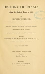 Cover of: History of Russia from the earliest times to 1880 by Alfred Nicolas Rambaud