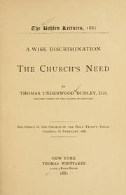 Cover of: A wise discrimination