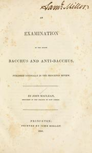 Cover of: An examination of the essays Bacchus