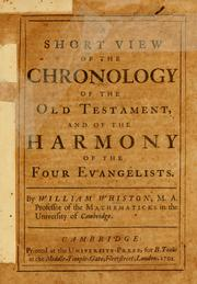 Cover of: A short view of the chronology of the Old Testament | William Whiston