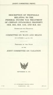 Cover of: Description of proposals relating to the federal income tax treatment of certain intangible property (H.R. 3035, H.R. 1456, and H.R. 563) |