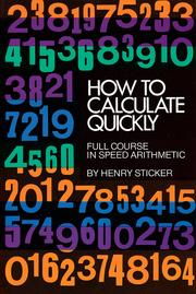 Cover of: How to calculate quickly | Henry Sticker