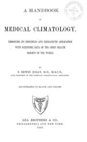 Cover of: A handbook of medical climatology | Samuel Edwin Solly