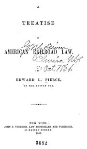 Cover of: A treatise on American railroad law
