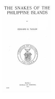 Cover of: The snakes of the Philippine Islands by Edward Harrison Taylor
