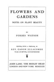 Cover of: Flowers and gardens | Forbes Watson