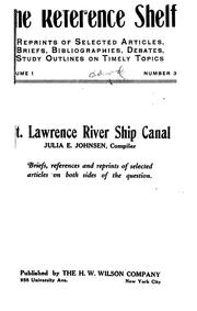 Cover of: St. Lawrence river ship canal. | Julia E. Johnsen
