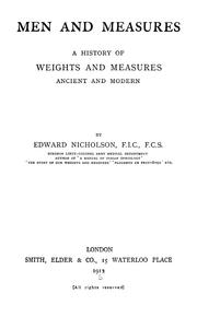 Cover of: Men and measures | Edward Nicholson