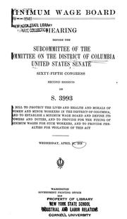 Cover of: Minimum wage board. | United States. Congress. Senate. Committee on the District of Columbia