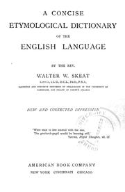 Cover of: A concise etymological dictionary of the English language | Walter W. Skeat