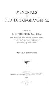 Cover of: Memorials of old Buckinghamshire