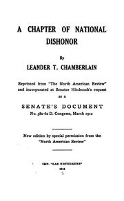 Cover of: A chapter of national dishonor
