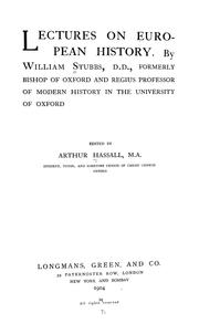 Cover of: Lectures on European history. | Stubbs, William