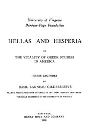 Cover of: Hellas and Hesperia | Basil L. Gildersleeve