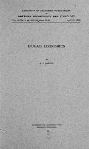 Cover of: Ifugao economics | Roy Franklin Barton