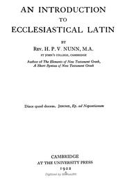 Cover of: An Introduction To Ecclesiastical Latin
