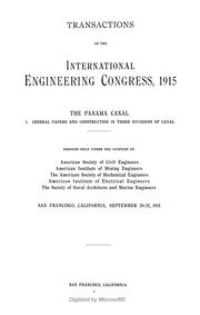 Cover of: Transactions of the International Engineering Congress, 1915 ... | International Engineering Congress (1915 San Francisco)