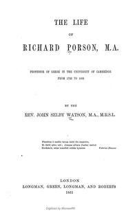 Cover of: The life of Richard Porson | Watson, J. S.