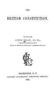 Cover of: The British Constitution. | Amos Dean