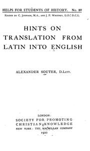 Cover of: Hints on translation from Latin into English, by Alexander Souter