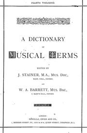 Cover of: A dictionary of musical terms. | Stainer, John Sir
