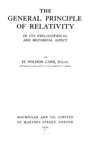 Cover of: The general principle of relativity in its philosophical and historical aspect