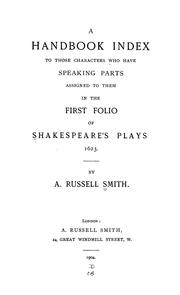 Cover of: handbook index to those characters who have speaking parts assigned to them in the first folio of Shakespeare