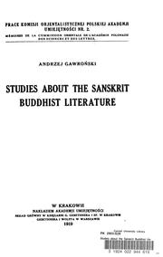 Cover of: Studies about the Sanskrit Buddhist literature | GawronМЃski, Andrzej