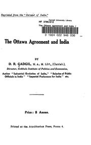 Cover of: The Ottawa agreement and India