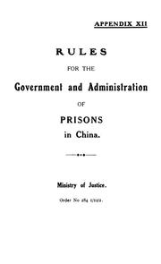 Cover of: Rules for the government and administration of prisons in China. | China. Si fa bu.