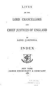 Cover of: Lives of the lord chancellors and chief justices of England