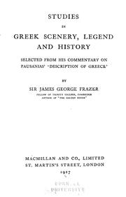 Cover of: Studies in Greek scenery, legend and history | James George Frazer