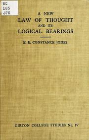 Cover of: new law of thought and its logical bearings | Emily Elizabeth Constance Jones