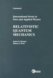 Cover of: Relativistic quantum mechanics