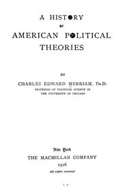Cover of: A history of American political theories