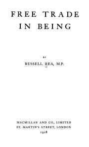 Cover of: Free trade in being | Russell Rea