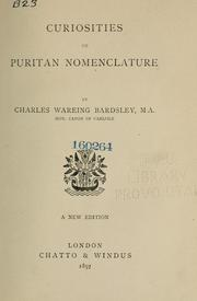 Cover of: Curiosities of Puritan nomenclature. | Charles Wareing Endell Bardsley