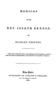Cover of: Memoirs of the Rev. Joseph Benson. | Treffry, Richard