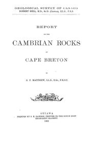Report on the Cambrian rocks of Cape Breton by George Frederic Matthew