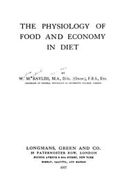 Cover of: The physiology of food and economy in diet