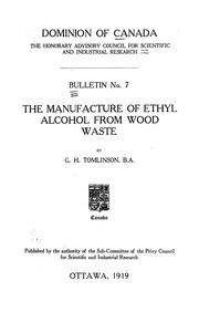 Cover of: manufacture of ethyl alcohol from wood waste | George Herbert Tomlinson