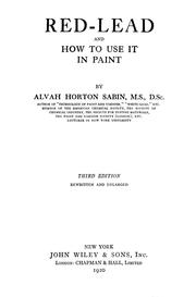 Cover of: Red-lead and how to use it in paint | Alvah Horton Sabin